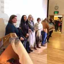 Haps and hap knitters at my Shetland wool week talk