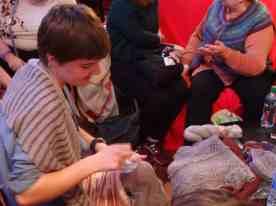 Sonja talks Samite in the lounge
