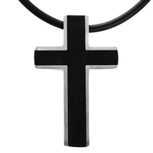 Halskæde med kors i sort og rustfrit stål