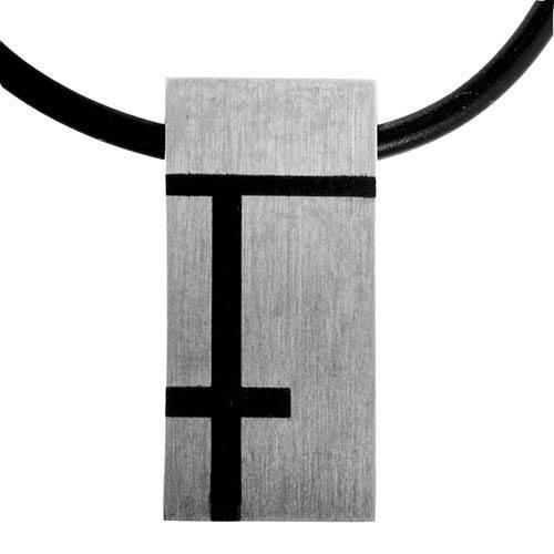 Halskæde med dog tag med asymetriske linier