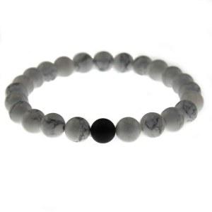 Perlearmbånd hvidt med 1 sort perle