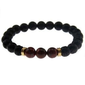 Perlearmbånd sort med 3 brune perler