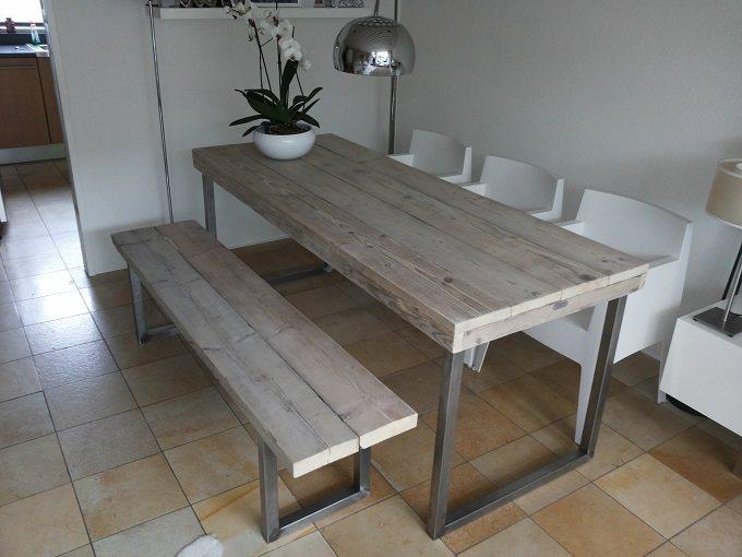 Steigerhouten tafel met RVS poten  bankje RVS poten  www