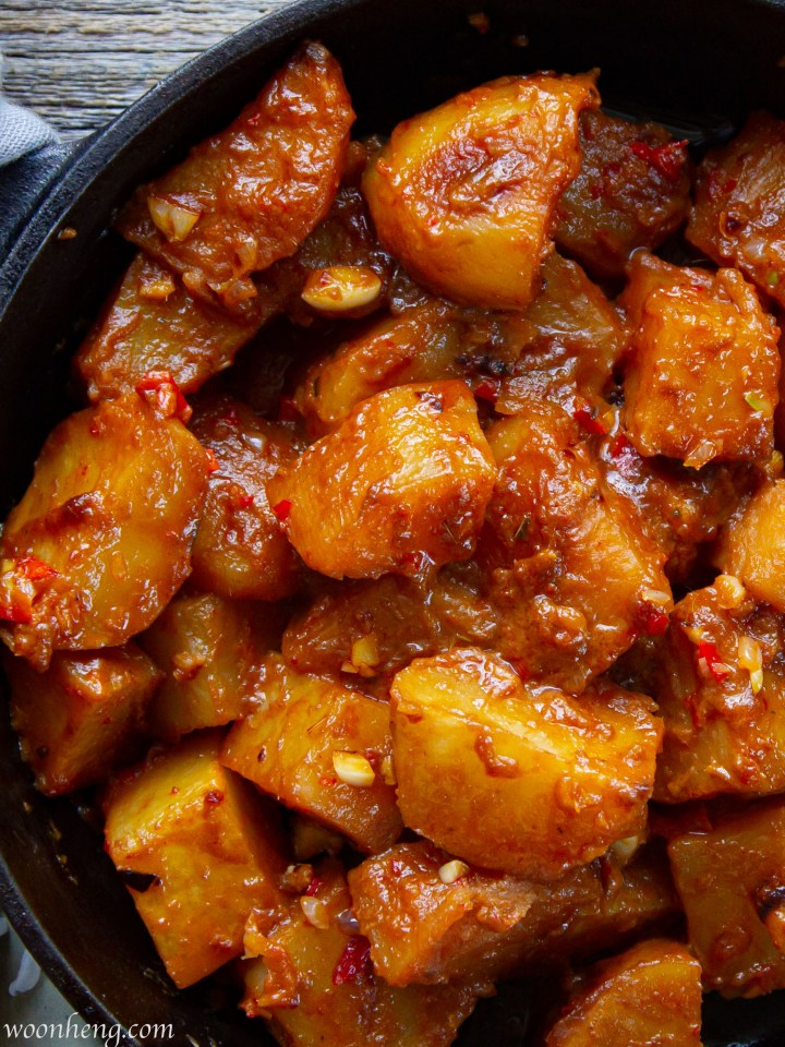 Easy sambal potatoes made with homemade chili paste