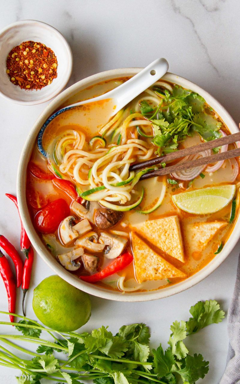 Tom Yum Zoodles Soup | Gluten-free, Vegan, Low-Carb