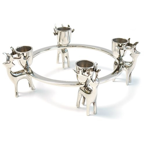 Adventskranz Adventsleuchter HIRSCH modern Design Nickel silber online kaufen bei WOONIO