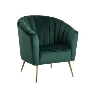 Fauteuil Shelly Green velvet / goud (Quartz Green 501)