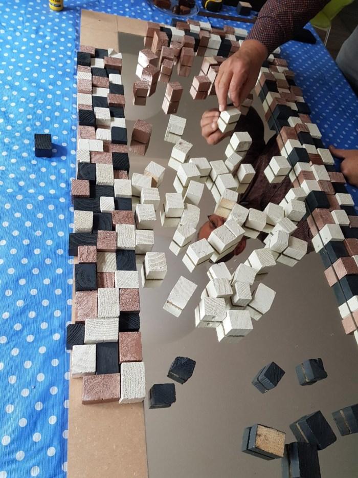 spiegel van blokjes DIY