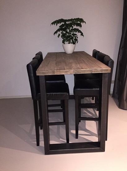 Hoge tafel Eefje stalen Upoten balken 80cm breed