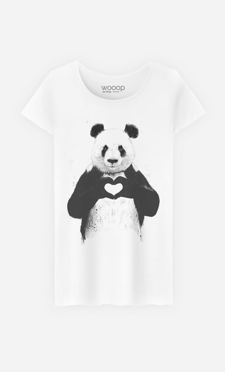 T Shirt Femme Love Panda Original Et Tendance Wooop