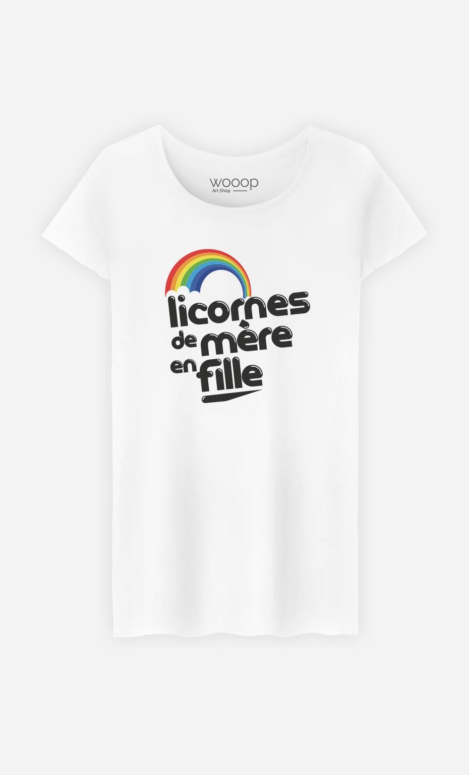 T-Shirt Femme Licornes de Mère en Fille original et