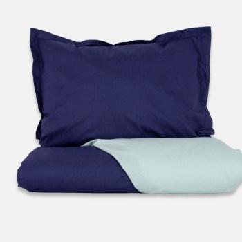 set așternut bleu/bleumarin pentru o persoana
