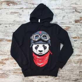 Unisex Siyah Havacı Panda Baskılı Sweatshirt Kapşonlu