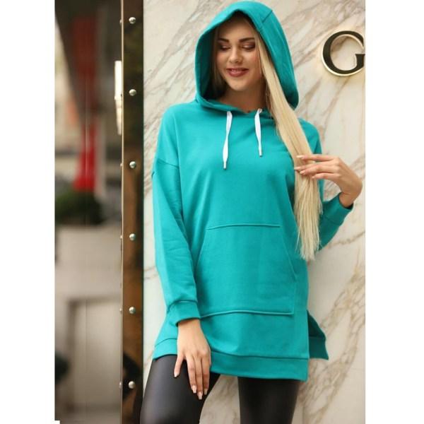 Kadın Yeşil Kapüşonlu Oversize 3 Iplikli Hoodie Sweatshirt