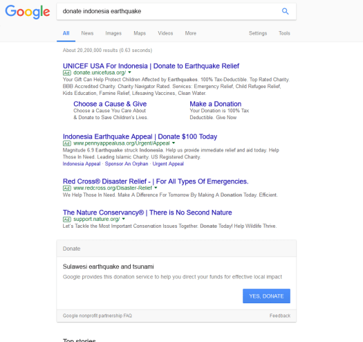 screen capture showing Google donate to Indonesia box
