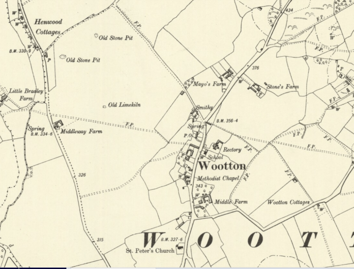 Wootton Parish Map 1900 Berkshire VI SW OS Six inch 5