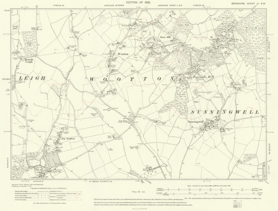 Wootton Parish Map 1922 Berkshire VI SW OS Six inch 1