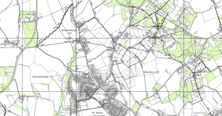 Wootton Parish (Nr Abingdon) Definitive Rights of Way Map.