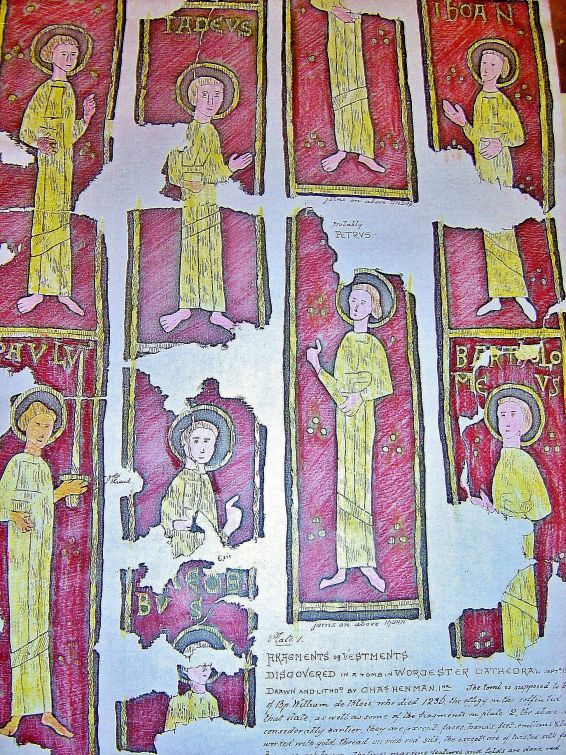 A reconstructed view of the designs on the 'Blois' stole. Image copyright the Dean and Chapter of Worcester Cathedral (UK).