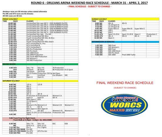Final - Orleans Weekend Race Schedule 2017 V2-WEB