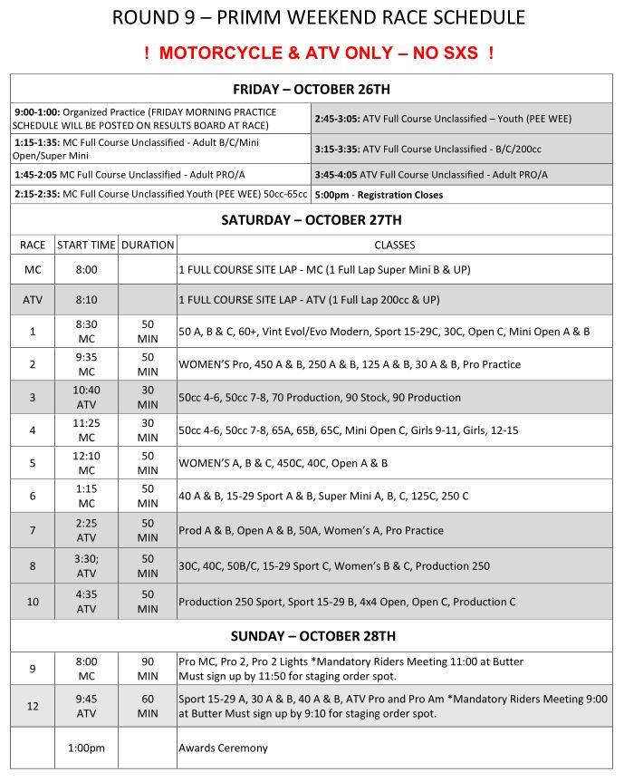 2018 Round 9 MC ATV Weekend Race Schedule