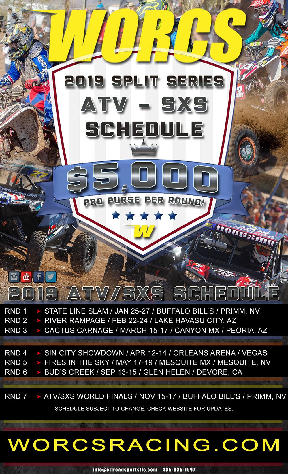 2019 WORCS ATV SXS SCHEDULE