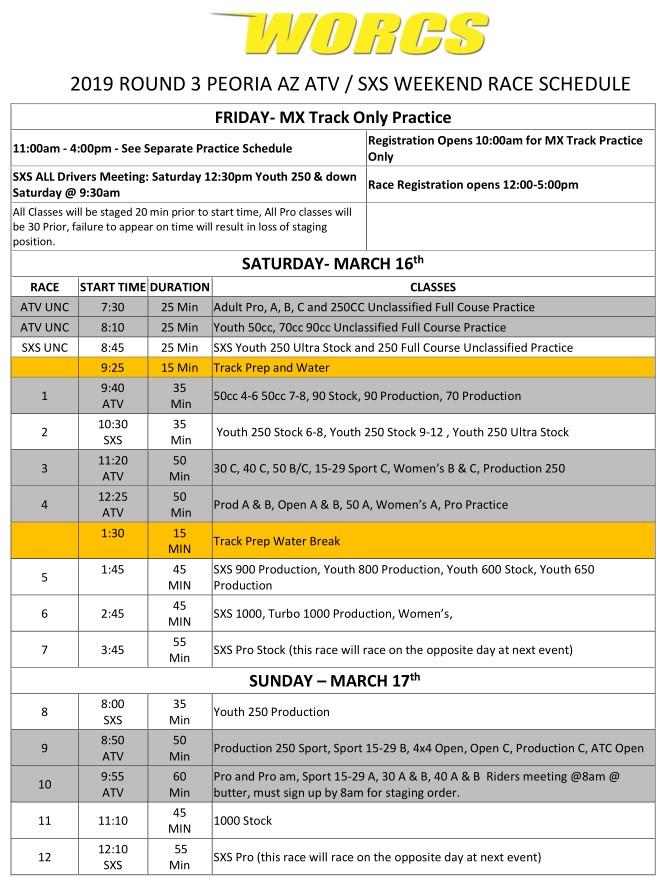 2019 Round 3 ATV SXS Race Weekend Schedule V2 Web