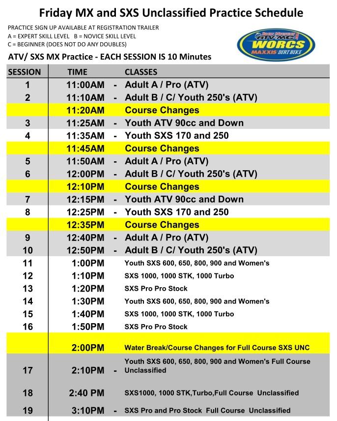 Round 6 2019 Glen Helen ATV SXS MX Schedule