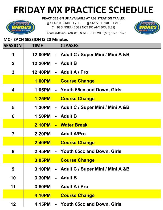 Round 6 2019 Mesquite MC MX Schedule