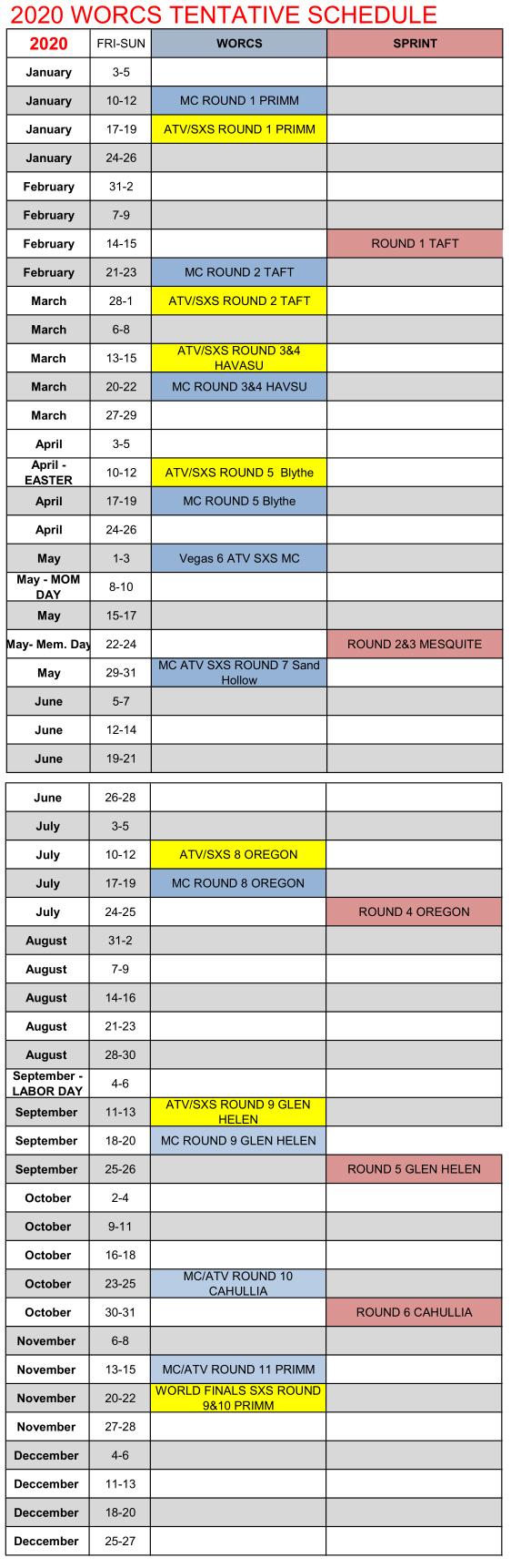 2020 WORCS TENTATIVE MASTER Schedule