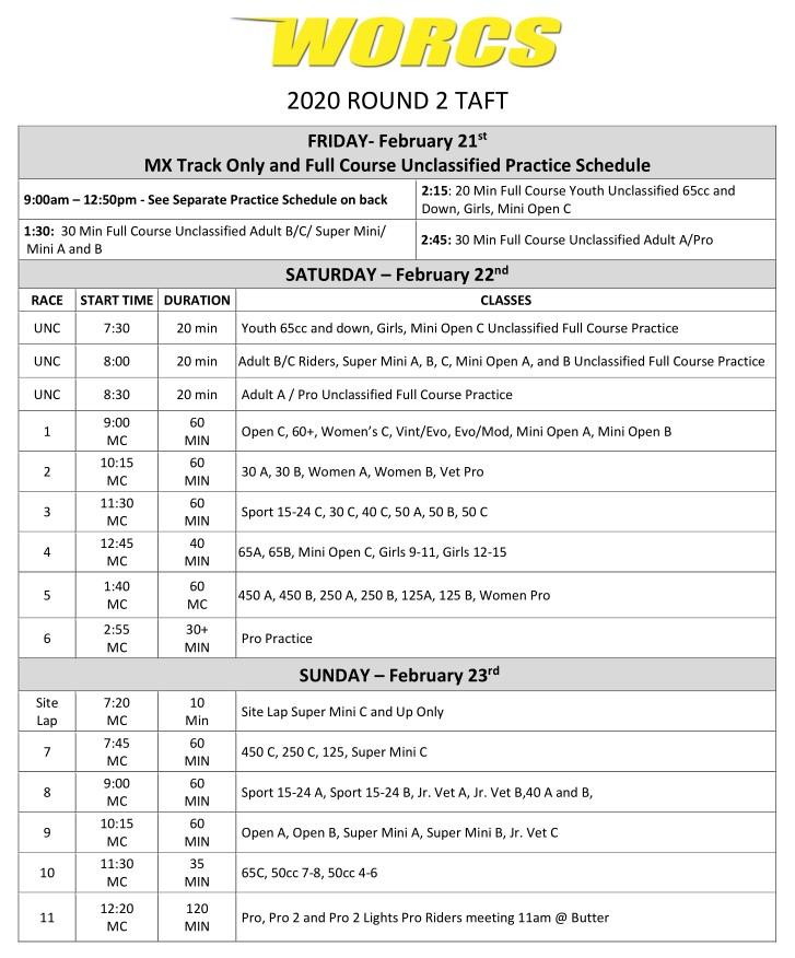 2020 Round 2 Taft MC Race Weekend
