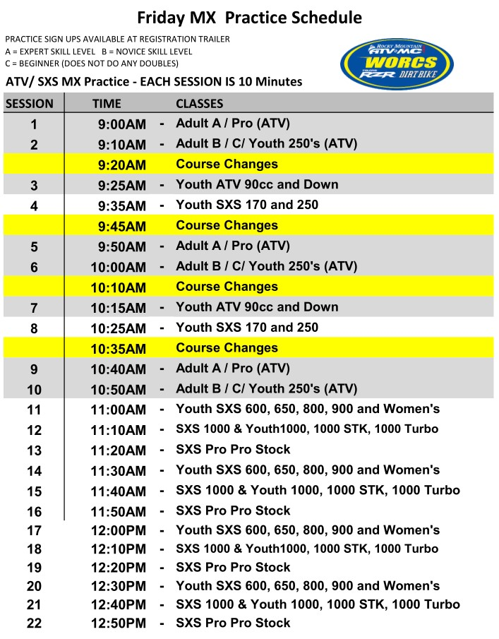 2020 Round 3&4 Friday MX and UNC Schedule