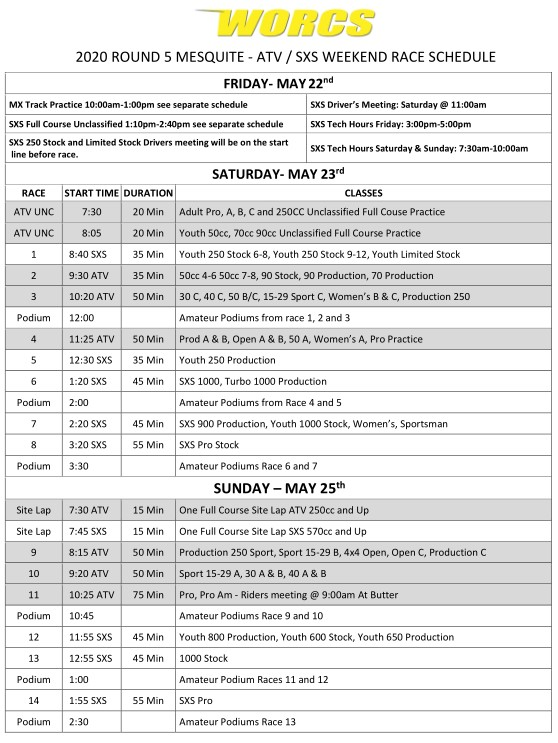 2020 Round 5 ATV SXS - Mesquite Race Weekend