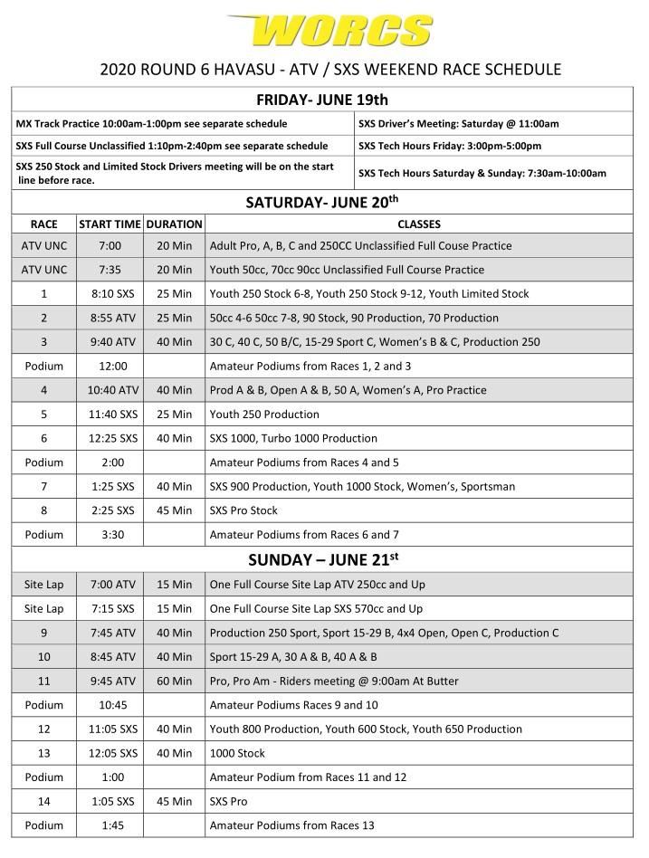 2020 Round 6 ATV SXS - HAVASU Race Weekend