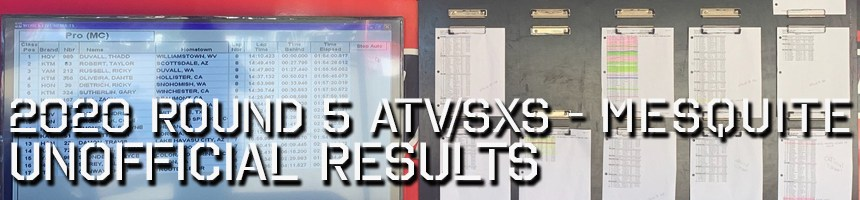 2020 Round 5 ATV SXS Unofficial Results Board