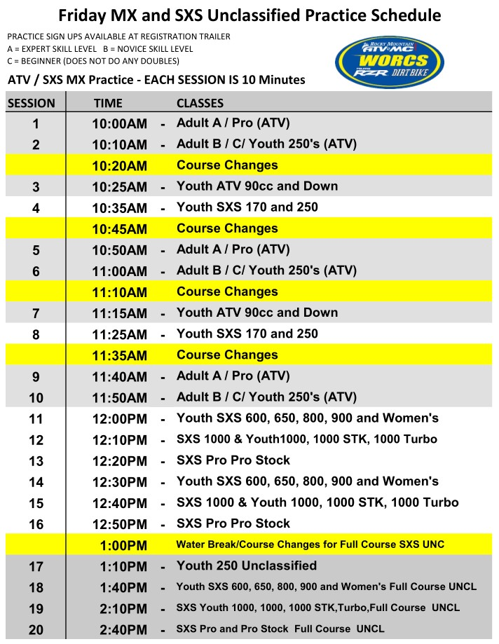 2021 Round 2 ATV SXS Friday MX and UNC PEORIA Schedule Web
