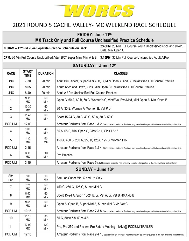 2021 R-5 CACHE VALLEY MC Race Weekend Web