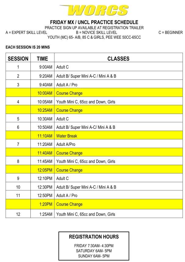 2021 R-7 & 8 MC Glen Helen Moto Practice Schedule