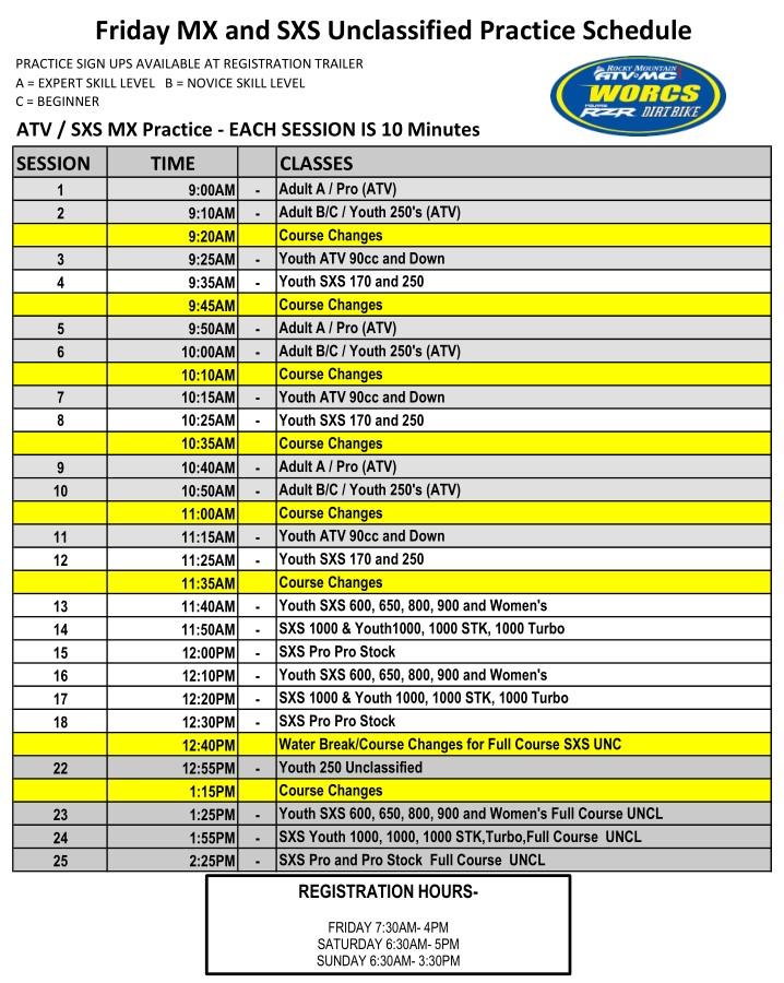 2021 R-9 MESQUITE ATV SXS MX Practice Schedule