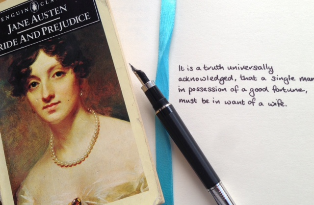 Copy of Pride and Prejudice with the opening lines copied into a notebook