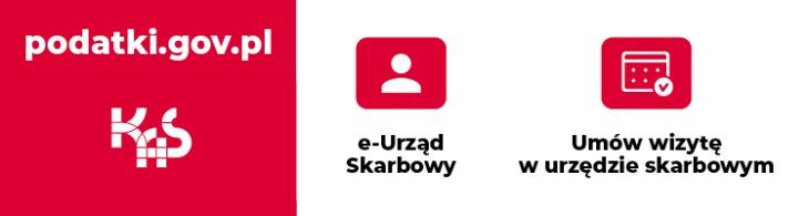 grafika zawiera biały napis z adresem internetowy podatki.gov.pl na czerwonym tle, czarny napis na białym tle E-Urząd Skarbowy a nad nim element z
