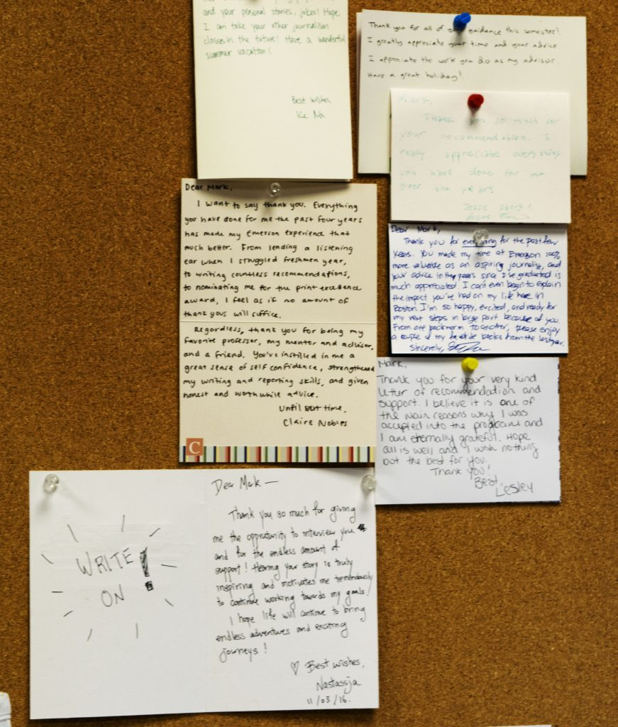 In his office, Leccese has put up letters written to him by his students.