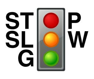An example of a stoplight and the colors used for states