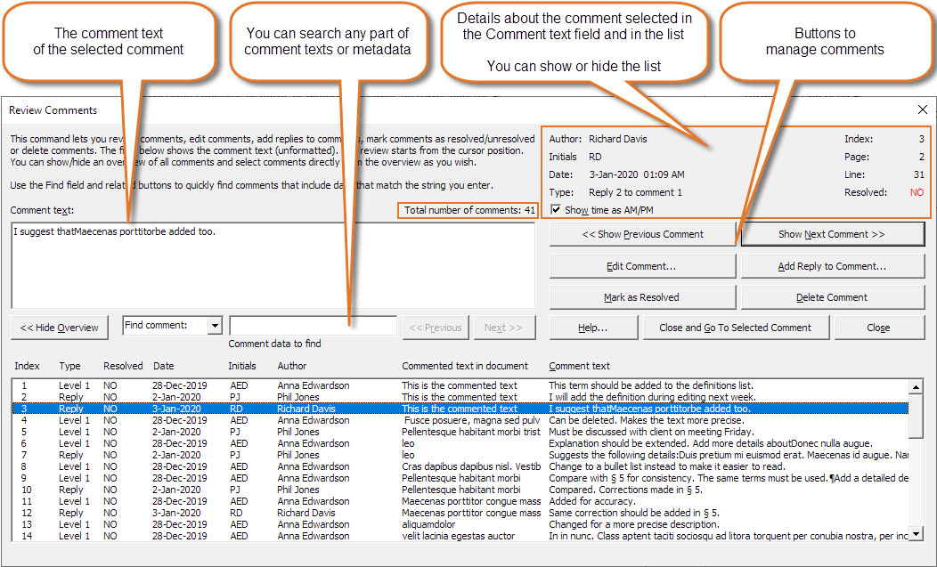 Comments in Word. automatic comment numbers. easy review