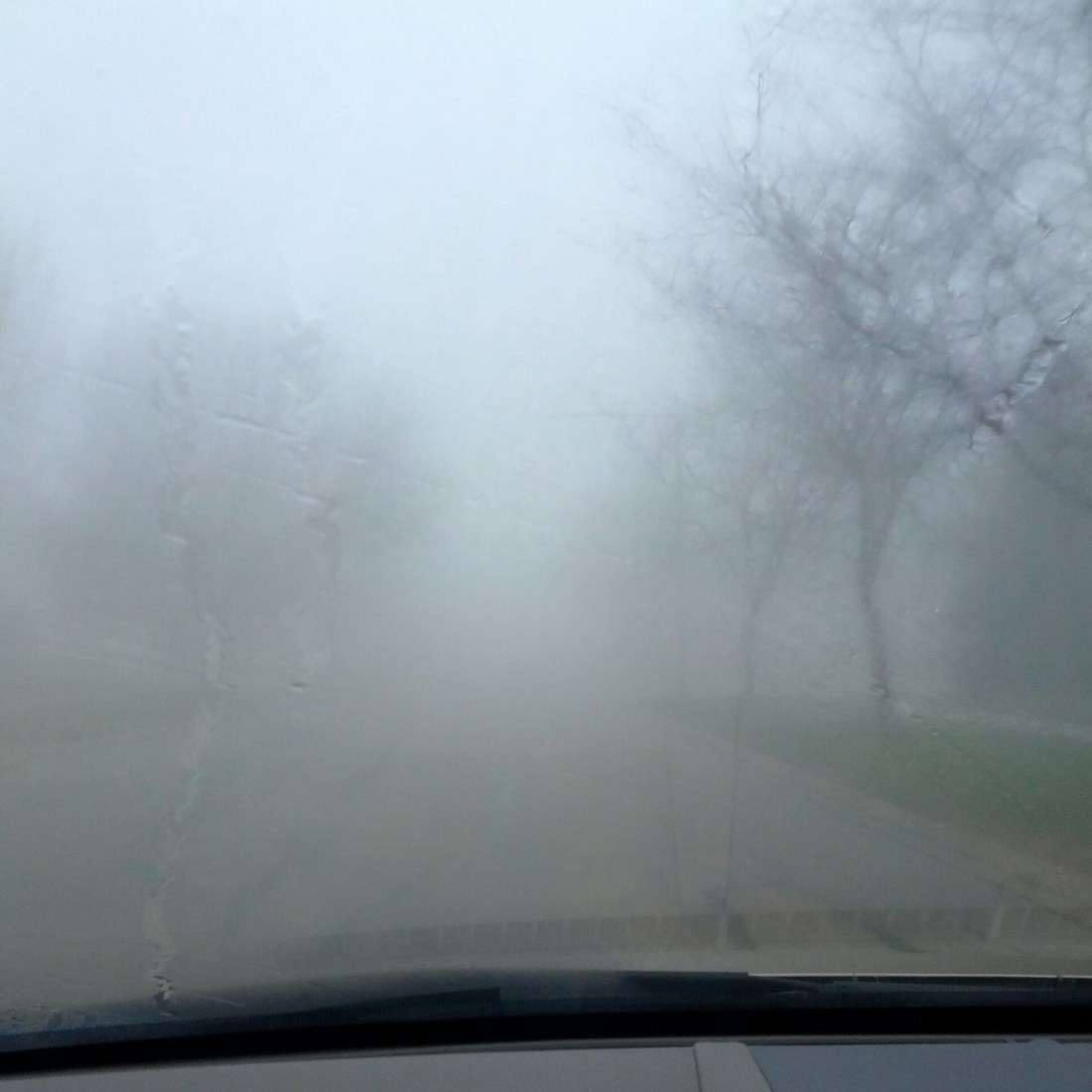 car with cloudy windshield