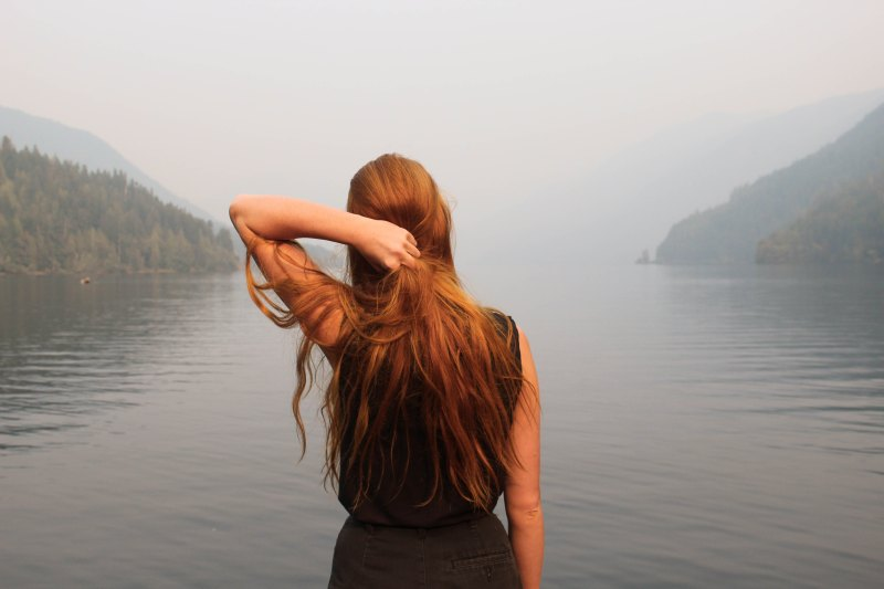 hookup culture, girl looking out at mountain