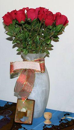 alabaster jar with roses
