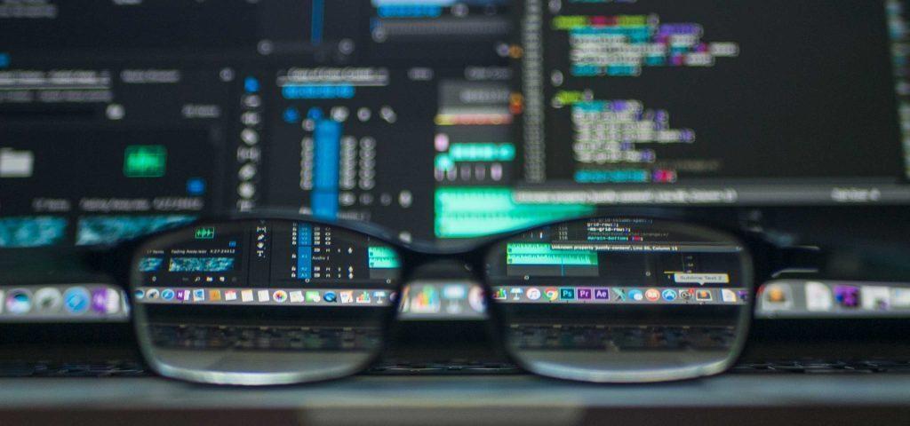 A computer screen through glasses