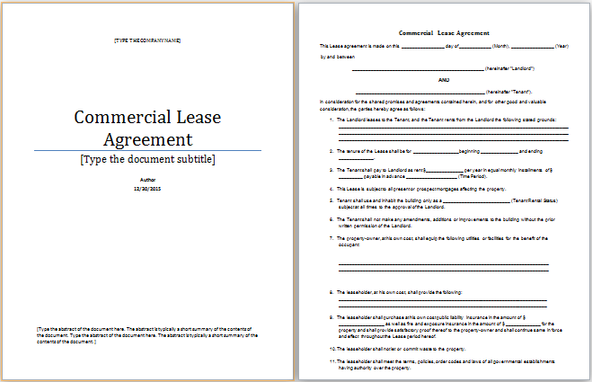 commercial lease agreement in word - Drpools.us