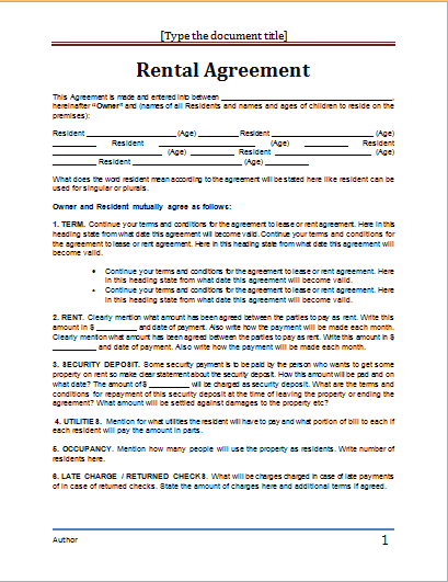 Ms Word Al Agreement Template Doent Templates